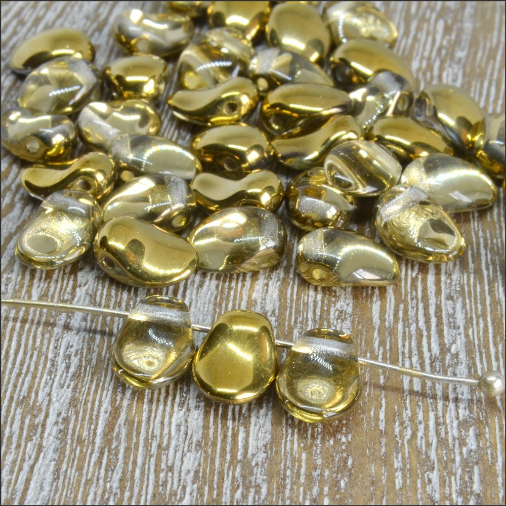 Czech Glass Petal Beads Crystal Amber 8mm x 6mm Pk 50