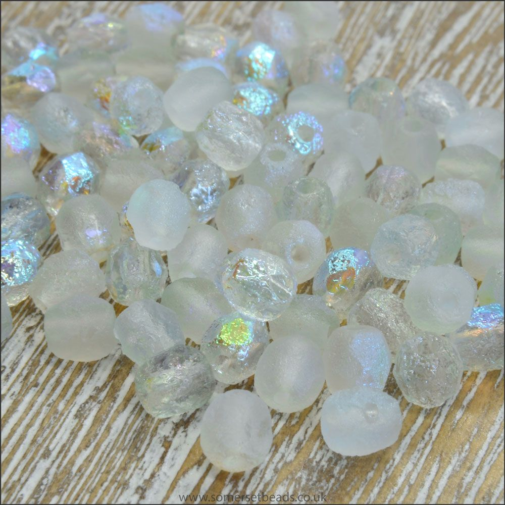 Czech Glass Faceted Fire Polished Beads 4mm Etched Crystal Green Rainbow