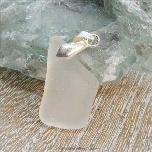 White Sea Glass Free Form Pendant - B