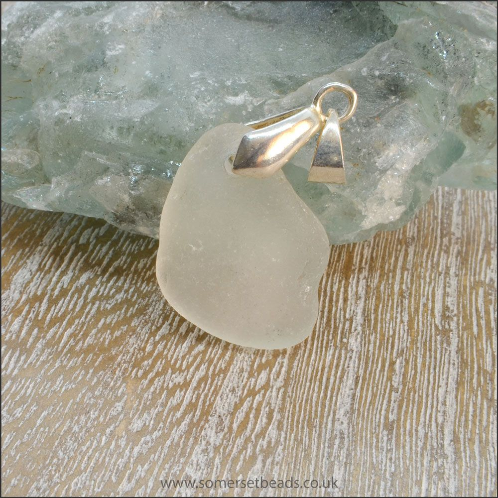 White Sea Glass Free Form Pendant - F