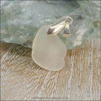 White Sea Glass Free Form Pendant - F