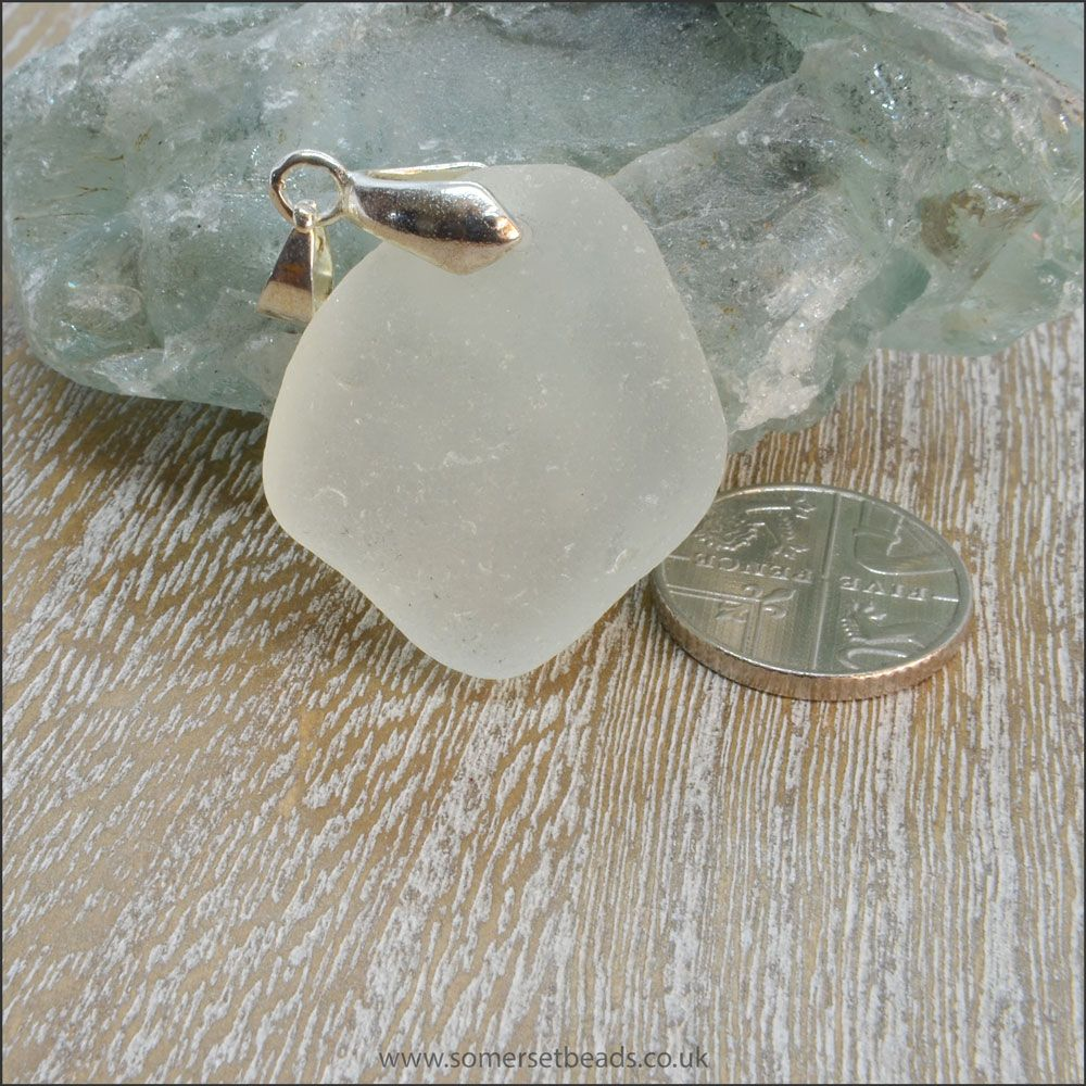 Seafoam Sea Glass Free Form Pendant - D