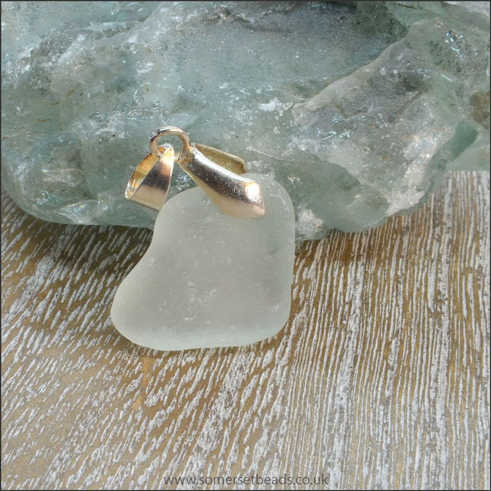 Seafoam Sea Glass Free Form Pendant - A