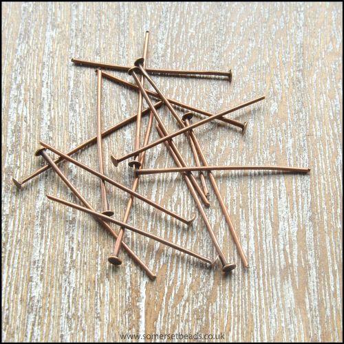 30mm Copper Coloured Head Pins