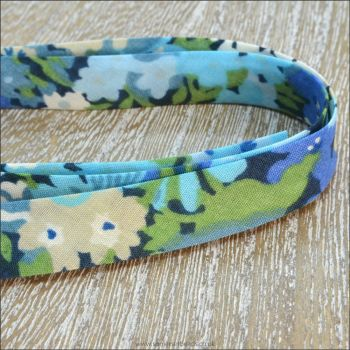 Liberty Of London Bias Ribbon 10mm Thorpe Blue / Green