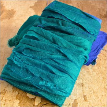 Teal Sari Silk Ribbon