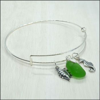 Green Sea Glass Sterling Silver Bangle