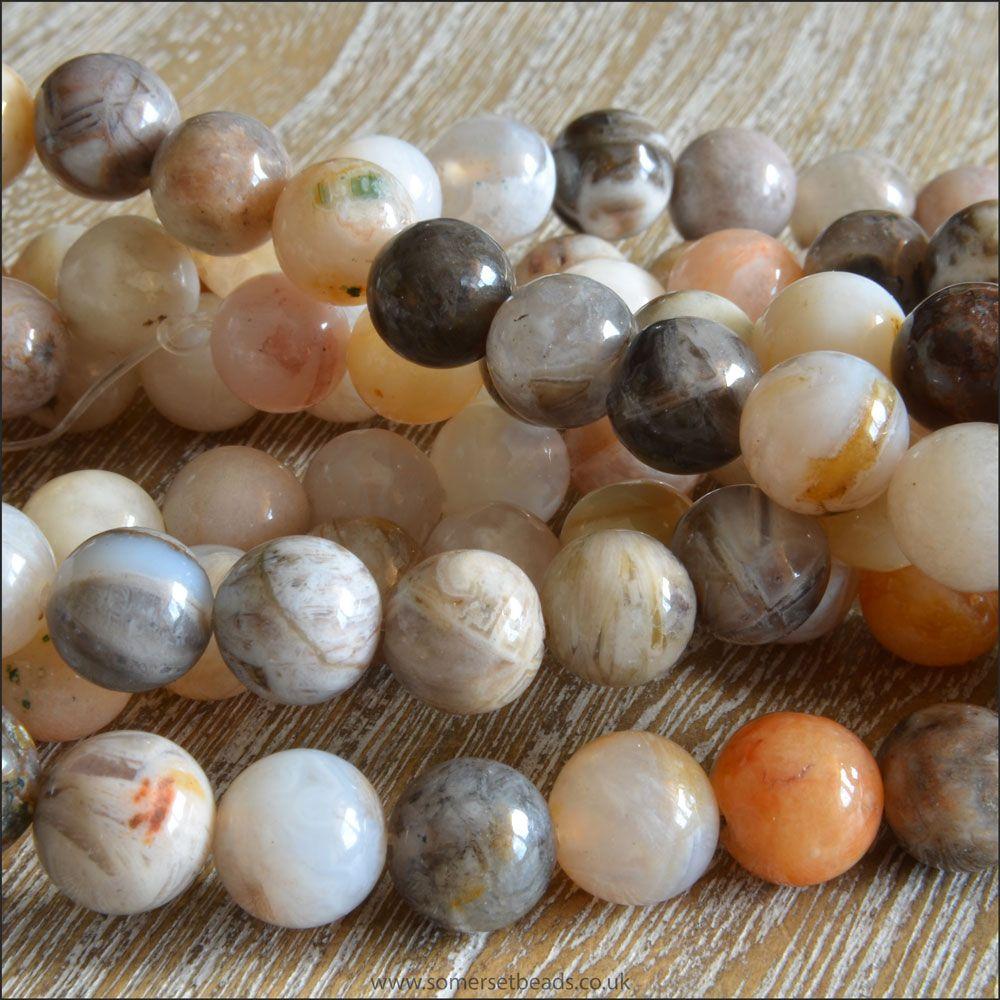 8mm Bamboo Leaf Jasper Plain Round Semi Precious Beads
