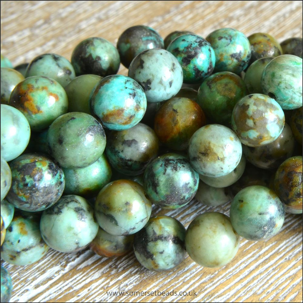 6mm African Turquoise Jasper Semi Precious Plain Round Beads
