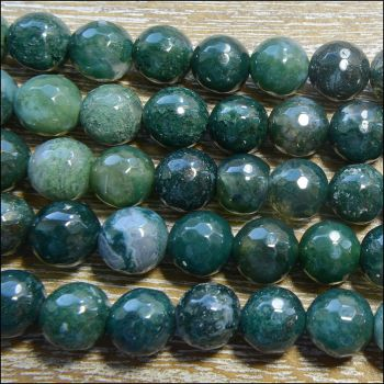 8mm Moss Agate Faceted Round Semi Precious Gemstone Beads