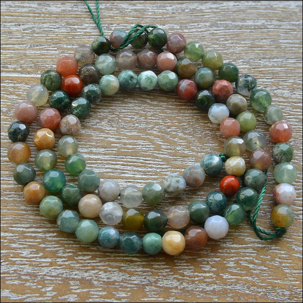 4mm Indian  Agate Faceted Round Semi Precious Gemstone Beads