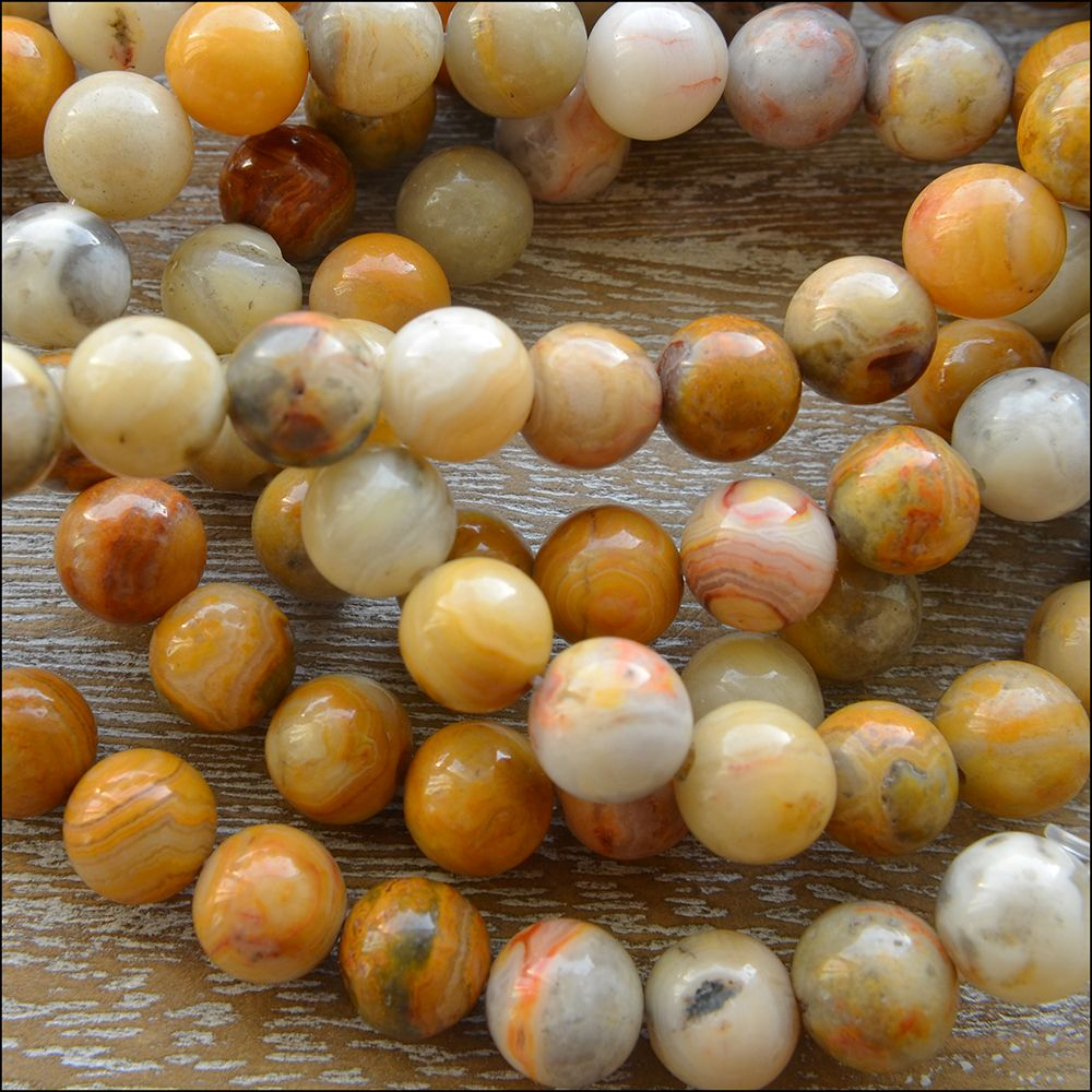 8mm Crazy Lace Agate Plain Round Semi Precious Beads
