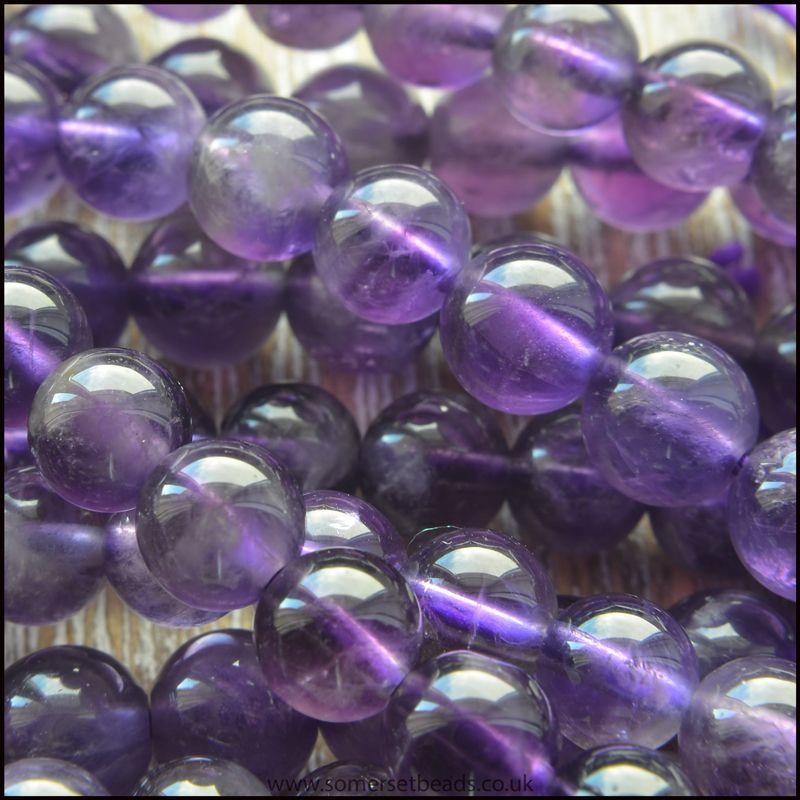 Amethyst 5mm Plain Round Semi Precious Beads