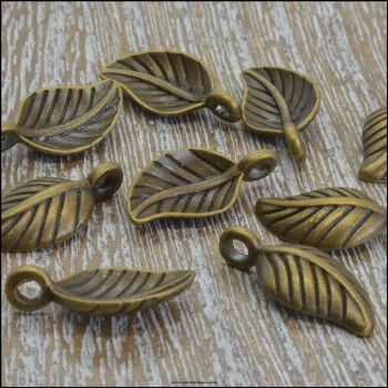 Small Curved Bronze Leaf Charms