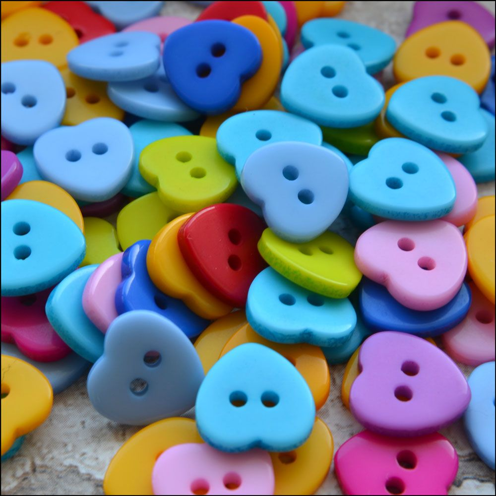 11mm Multi Coloured Resin Heart Shaped Buttons