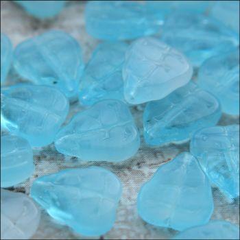 Czech Glass Pressed Leaf Shaped Beads - Light Blue