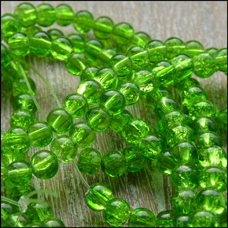 4mm Spring Green Crackle Glass Beads