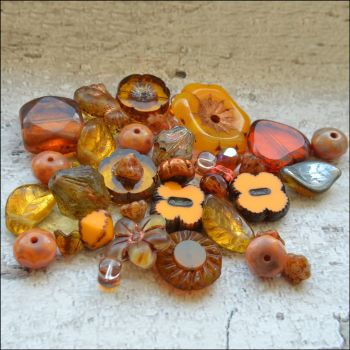 Orange Czech Glass Bead Variety Pack