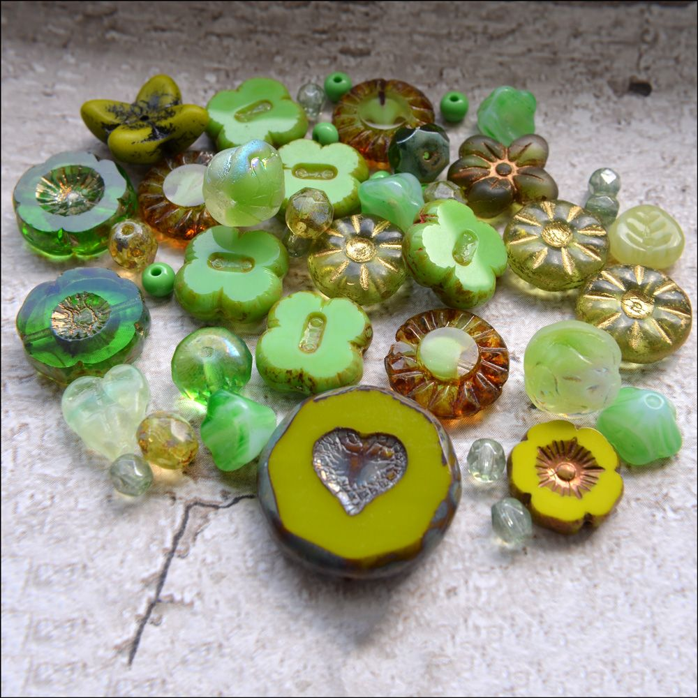 Bright Green Czech Glass Bead Variety Pack