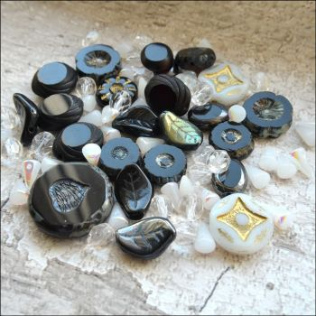 Black & White Czech Glass Bead Variety Pack
