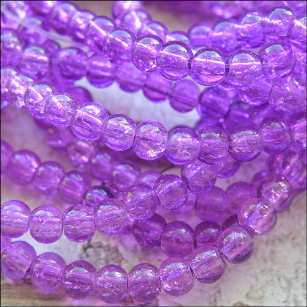 4mm Light Purple Crackle Glass Beads