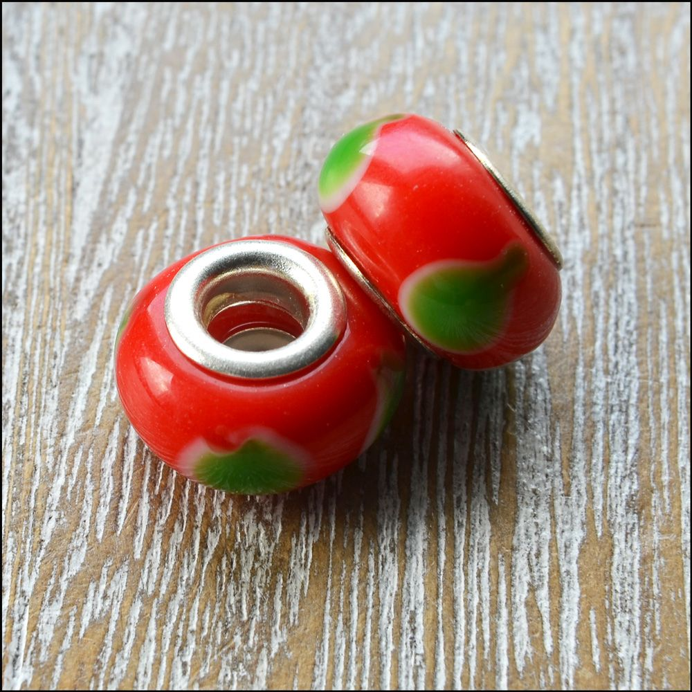 Red & Green  European Style Glass Charm Beads