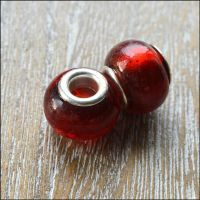 Deep Red Foil Glass Charm Beads