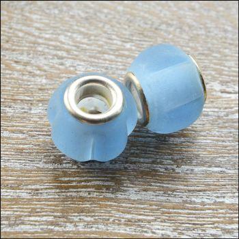 Glass Charm Beads Light Blue Matt