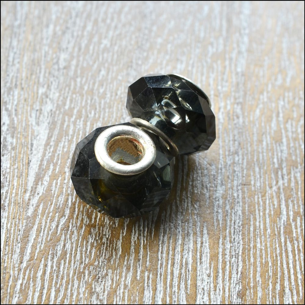 Glass Charm Beads Dark Grey Faceted