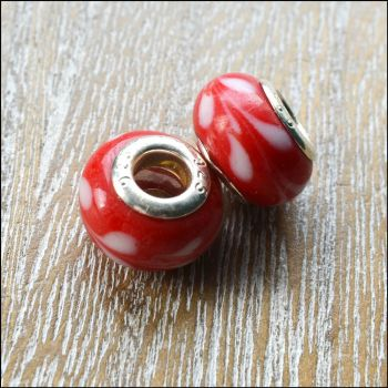 Glass Charm Beads Red With White Pattern