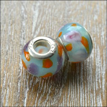 Glass Charm Beads Blue With Lilac Flowers