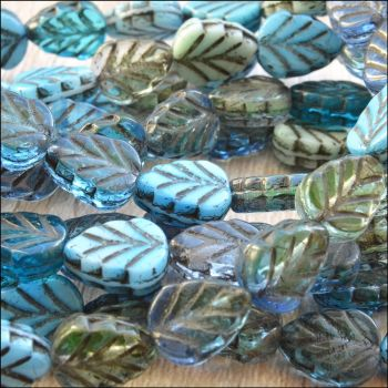 Czech Glass Pressed Leaf Beads 10mm x 8mm Blue Mix