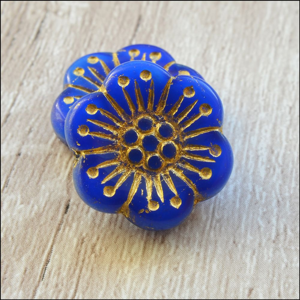 Czech Glass Anemone Flower Beads -Cobalt Blue