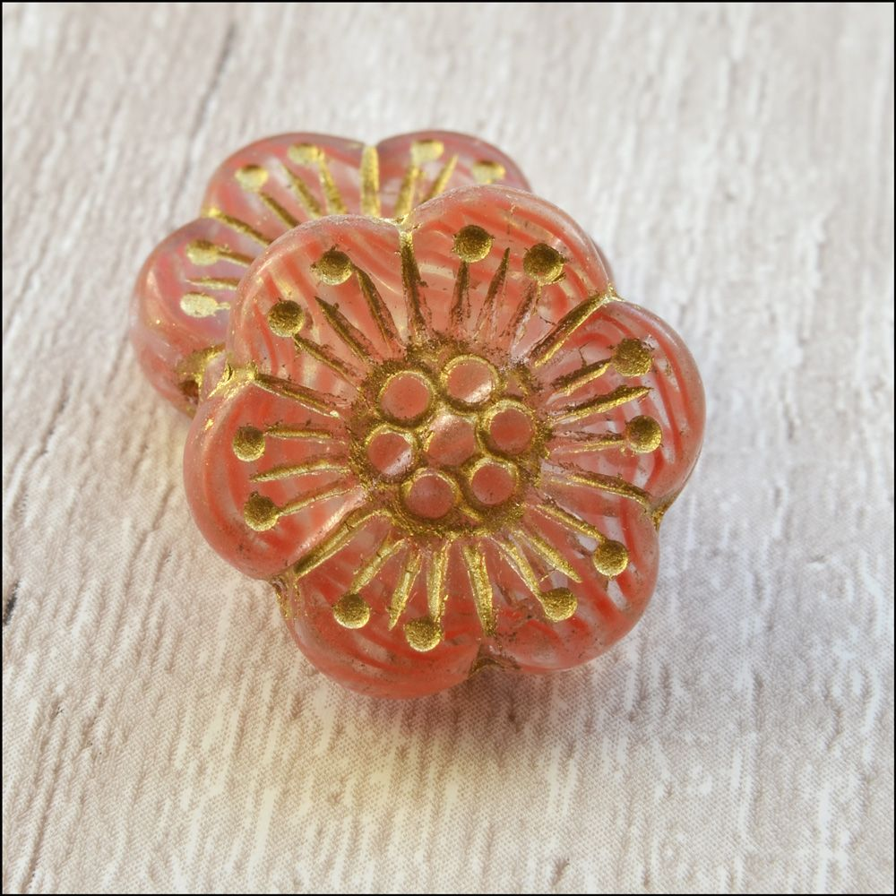 Czech Glass Anemone Flower Beads - Pink Ripple