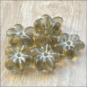 Czech Glass Pressed Puffy Flower Bead - Smokey Antique Silver