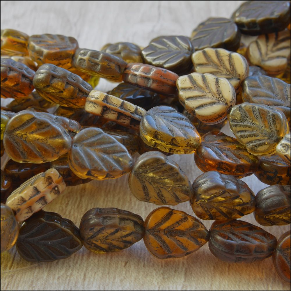 Czech Glass Pressed Leaf Beads 10mm x 8mm Dark Brown Mix