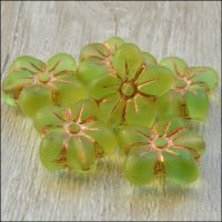 Czech Glass Pressed Puffy Flower Bead - Spring Green