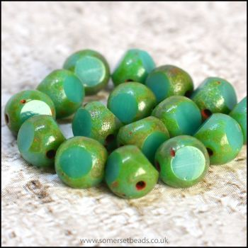 3 Cut Czech Glass Beads, 6mm, Turquoise Picasso