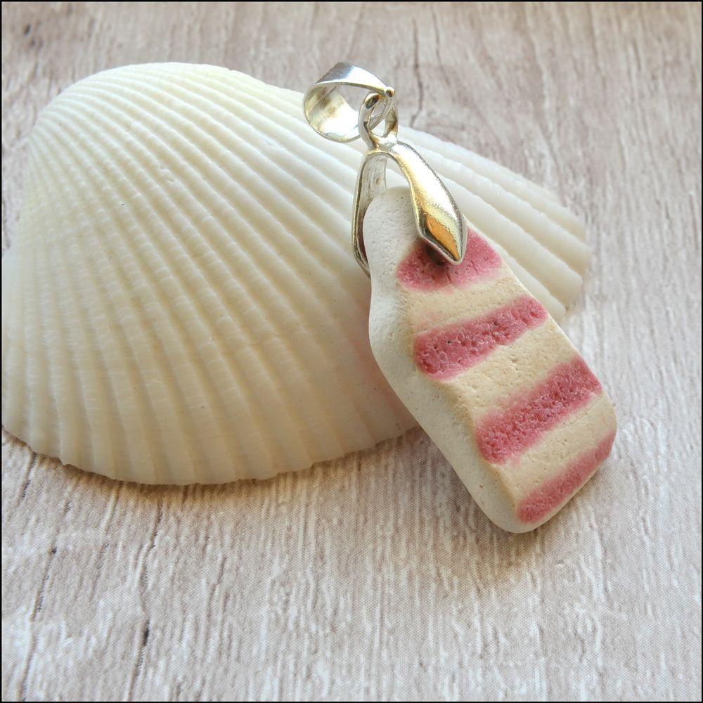 Pink Sea Pottery Pendant