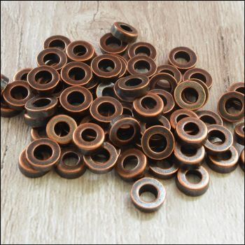 6mm Copper Washer Style Spacer Beads