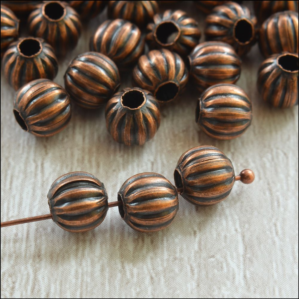 6mm Copper Pumpkin Spacer Beads
