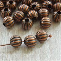 6mm Copper Pumpkin Spacer Beads