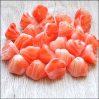 Czech Glass Bell Flower Beads 8mm x 6mm Strawberry Ripple