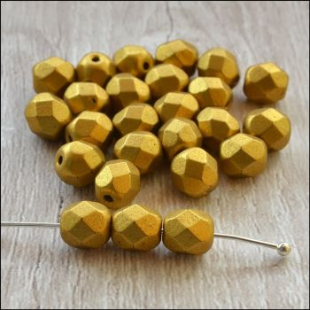 Czech Glass Faceted Fire Polished Beads 6mm Matte Gold
