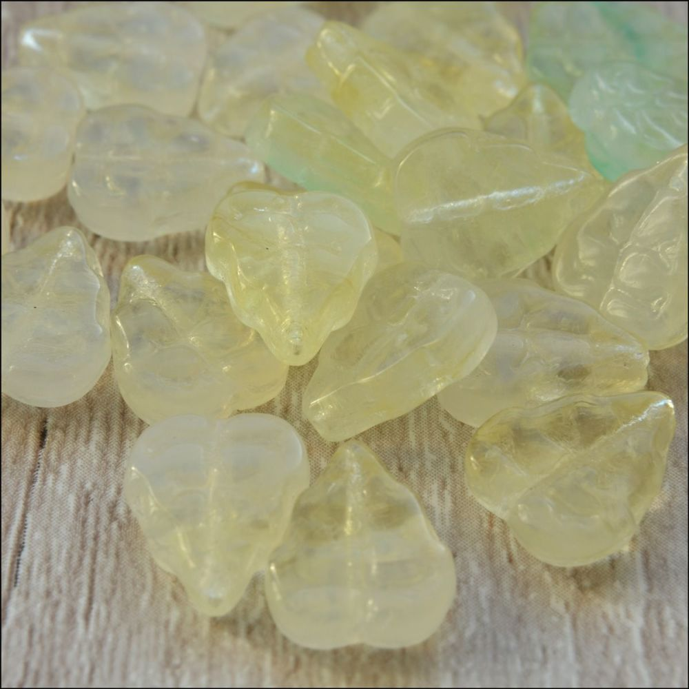 Czech Pressed Glass Lemon Leaf Beads 10mm x 9mm.