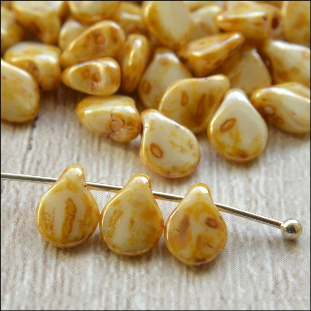 Czech Glass Pip Beads Butterscotch 5mm x 8mm Pk 50