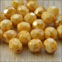 Czech Glass Faceted Fire Polished Beads 6mm Butterscotch Lustre
