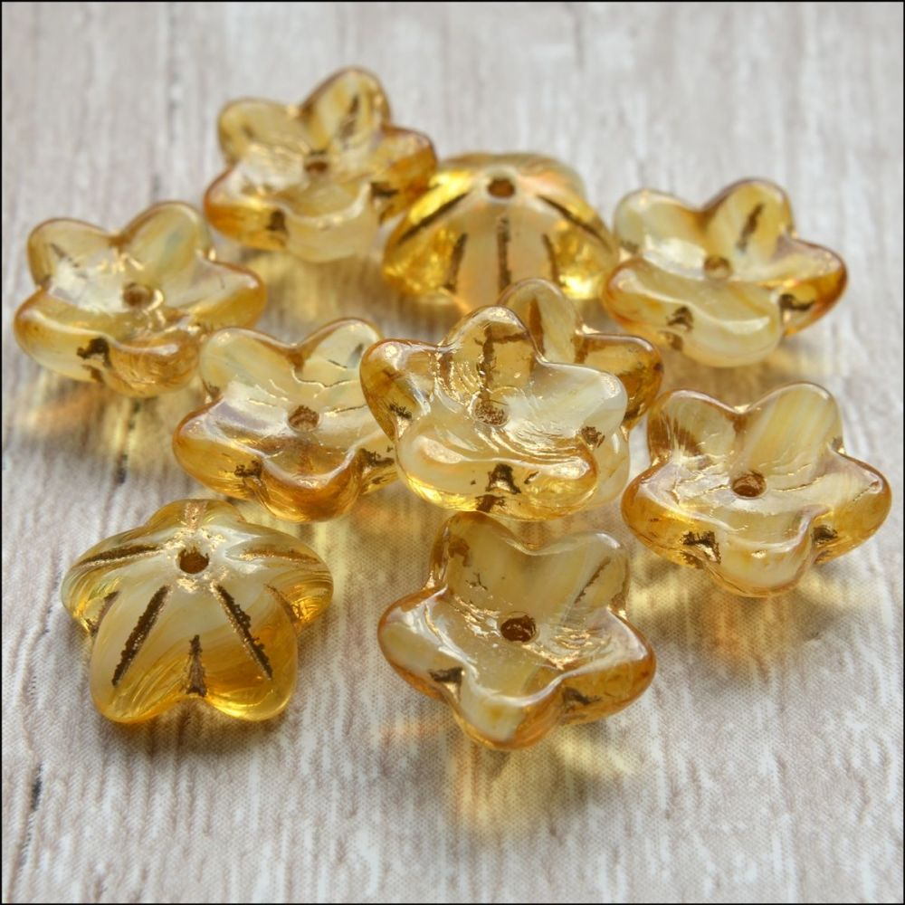Czech Glass Bell Flowers Honey 10mm x 4mm Pk 10