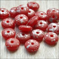 Czech Glass Disc Beads 6mm - Matte Red With Silver Rain Finish