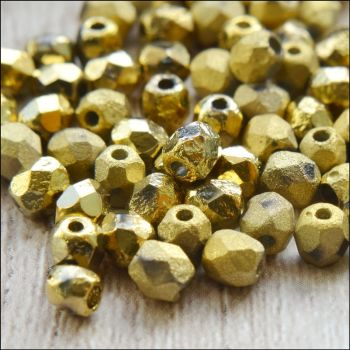 Czech Glass Faceted Fire Polished Beads 4mm Etched Crystal Full Amber